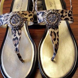 Anne Klein Annabella Leopard Print Sandals.